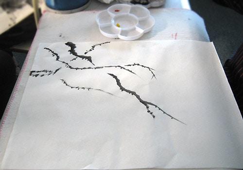 как нарисовать ветку жасмина, китайская живопись