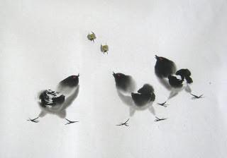 цыплята, восточная живопись, мастер класс