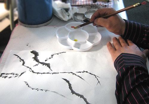 китайская живопись го хуа, рисование ветки жасмина