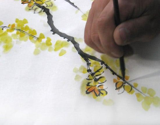 рисунок ветви жасмина, китайская живопись