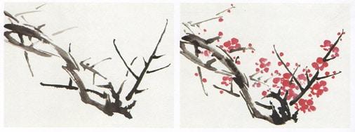 рисование цветущих деревьев, го хуа