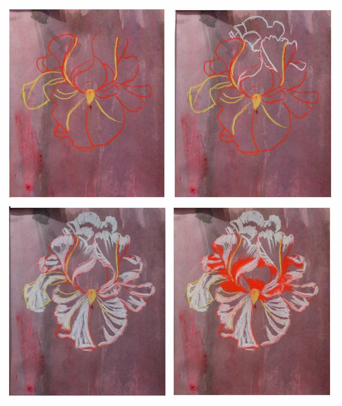 рисунок цветка ириса пастелью
