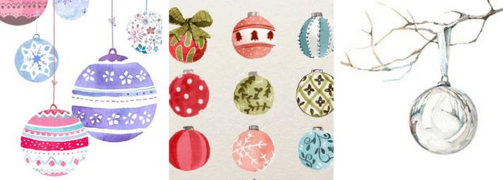 как рисовать елочный шар акварелью, елочные игрушки