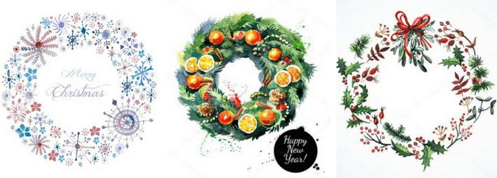 рисуем рождественский венок акварелью