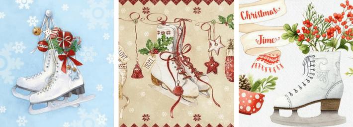 идеи для новогодних открыток, коньки
