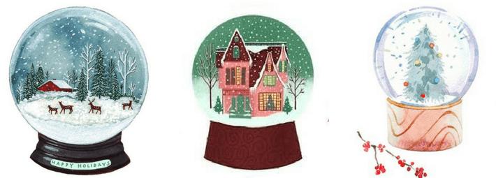 как рисовать снежный шар