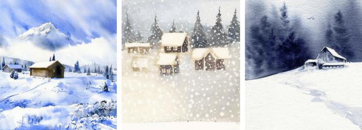 как рисовать зимний пейзаж