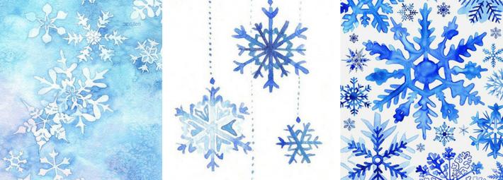 снежинки акварелью