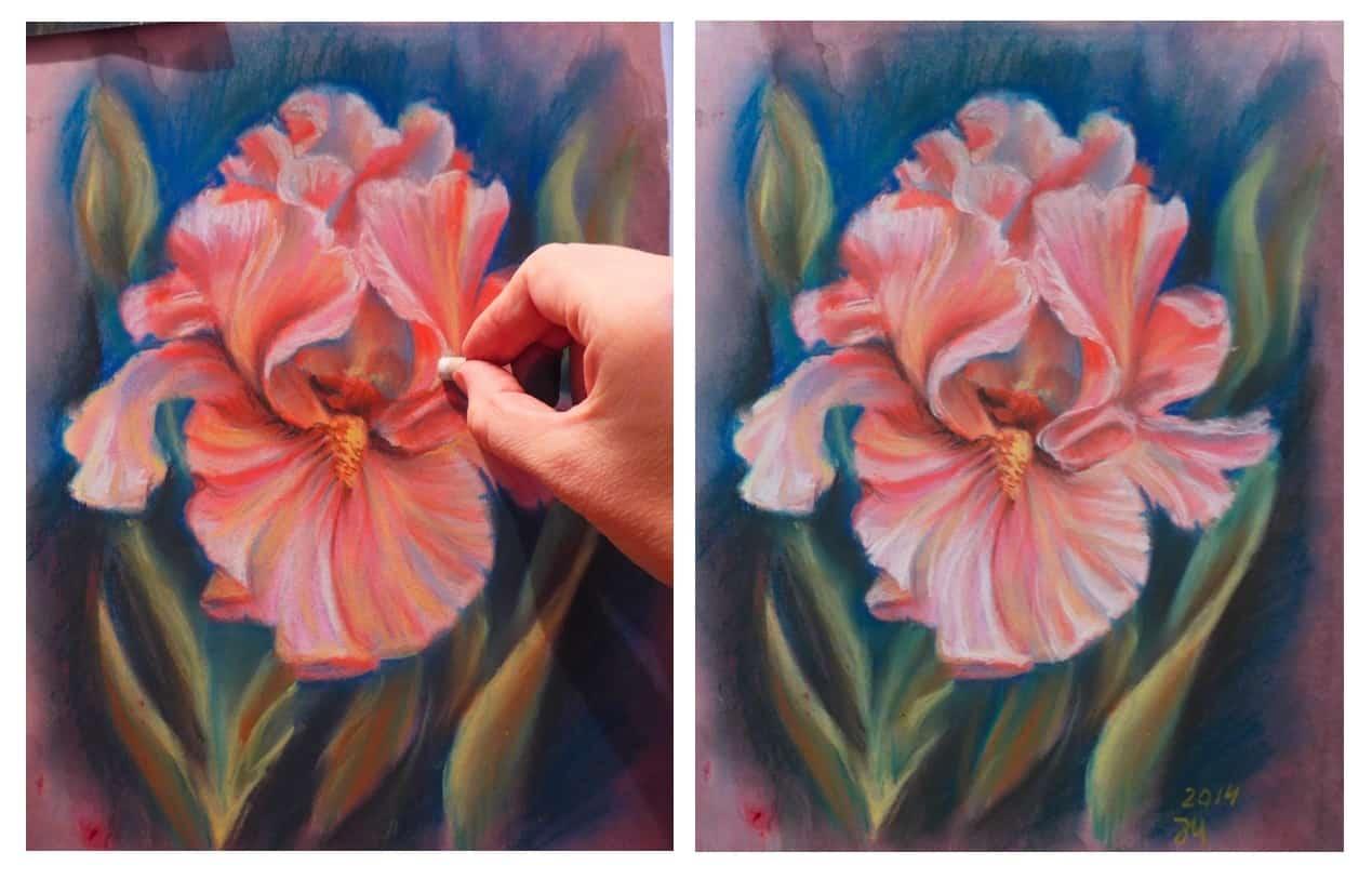 как нарисовать ирис пастелью