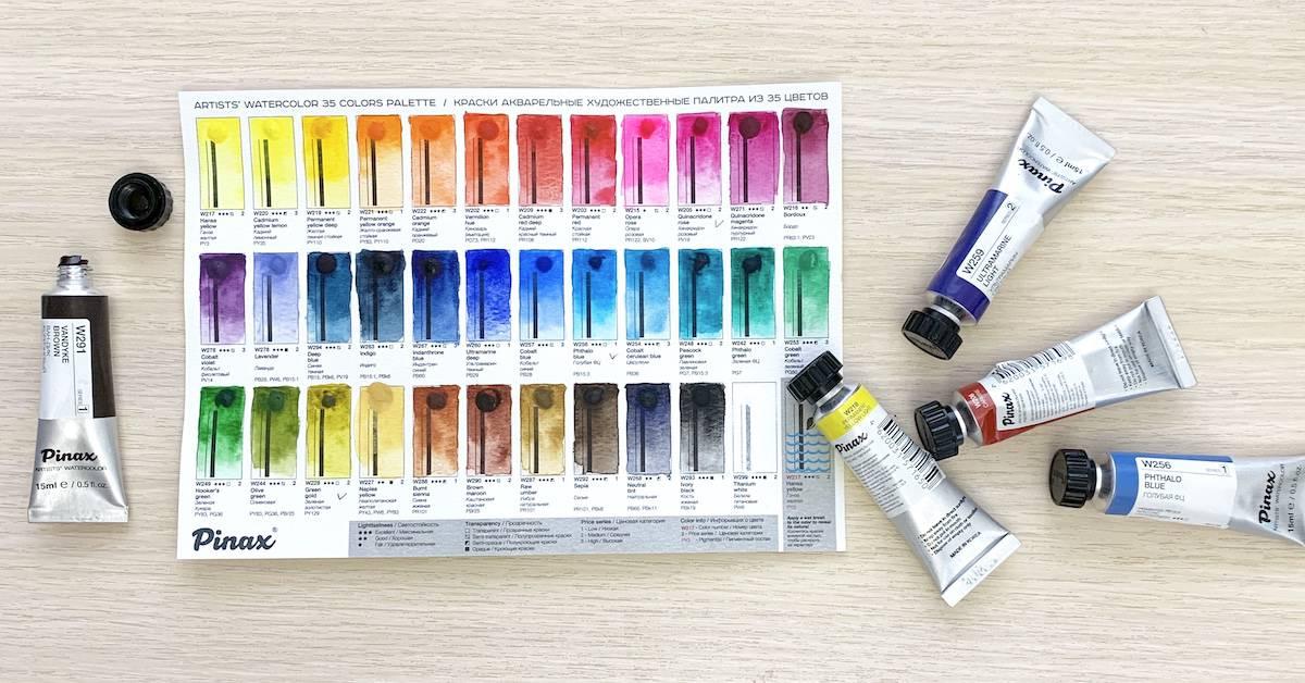 Акварельные краски Pinax тест