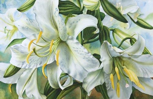 Белые лилии, пишем фон