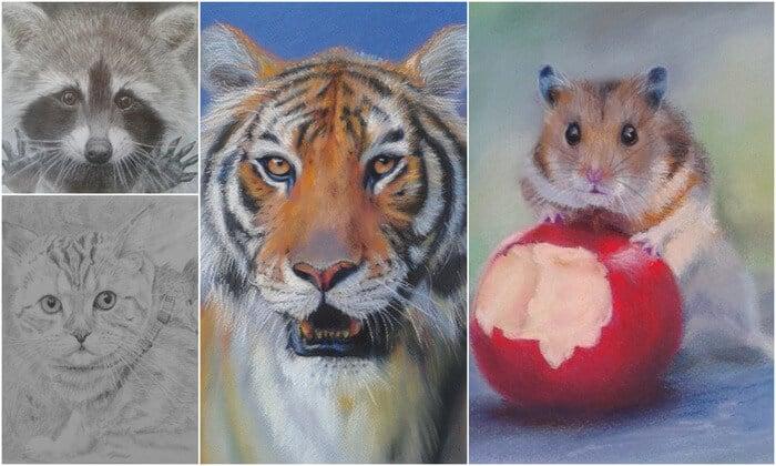 как нарисовать животных пастелью