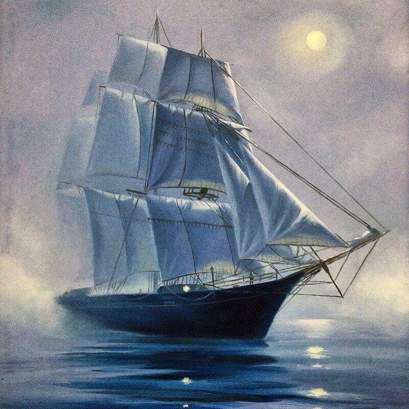 масляная живопись, корабль