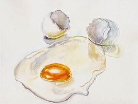 Акварель для начинающих: яичница глазунья