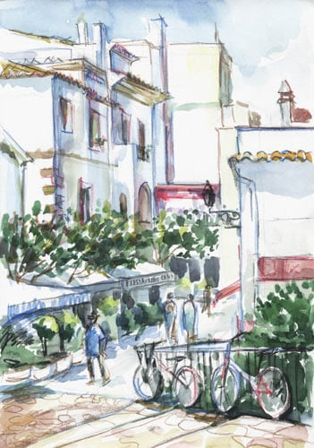 Городская зарисовка, акварельные карандаши, Марина Трушникова