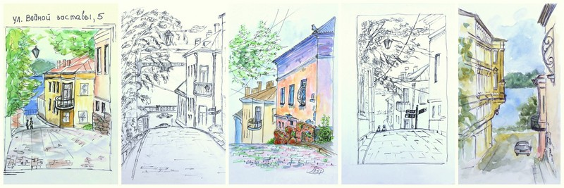архитектурный скетчбукинг, Выборг, зарисовка улицы