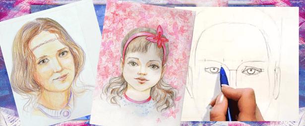 Женские портреты акварельными карандашами, Марина Трушникова