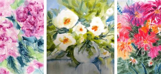 букет цветов акварелью по мокрому