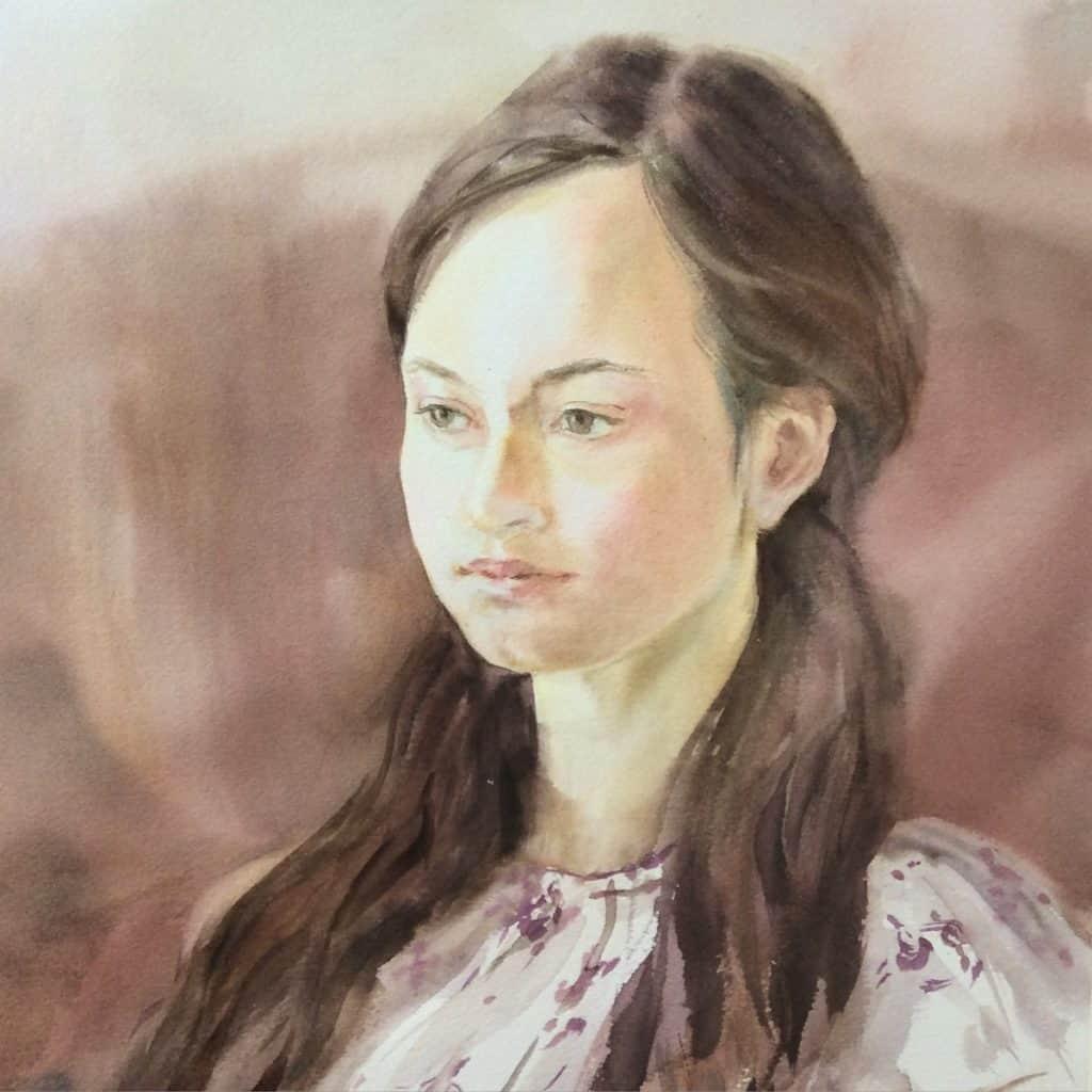 бумага для акварели, портрет на хлопке М.Трушникова
