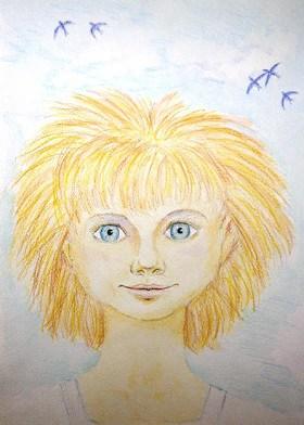 девочка, портрет, акварельные карандаши