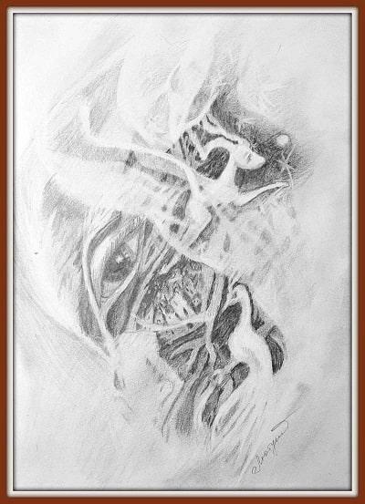 Поээзия карандаша. Первый рисунок Людмилы, ученицы Марины Трушниковой