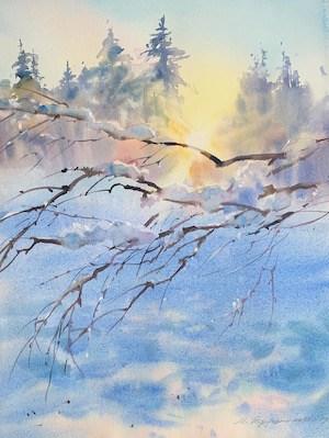 зимний пейзаж акварель