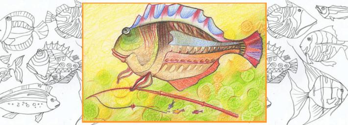 как нарисовать рыбу цветными карандашами