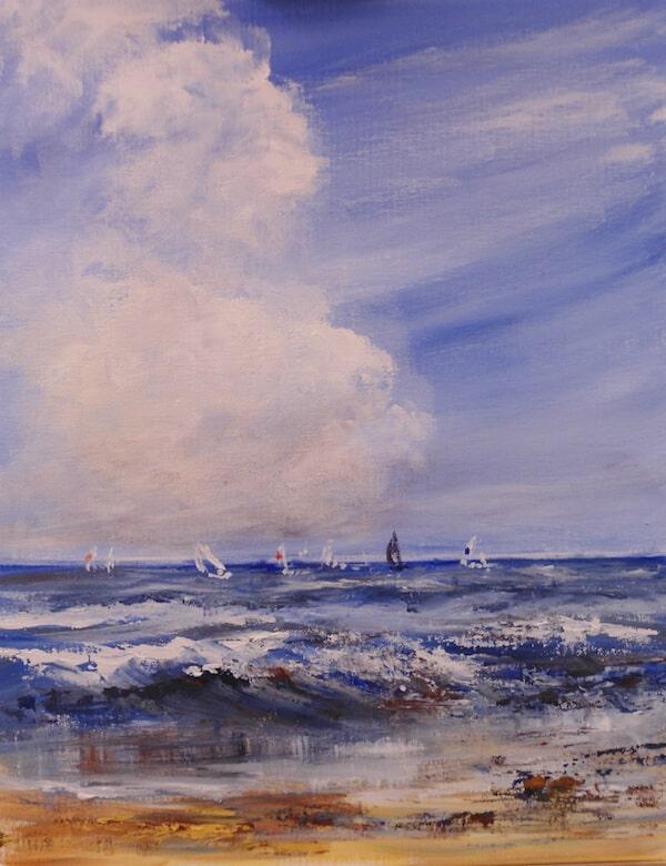 примеры рисования фонов, морской пейзаж