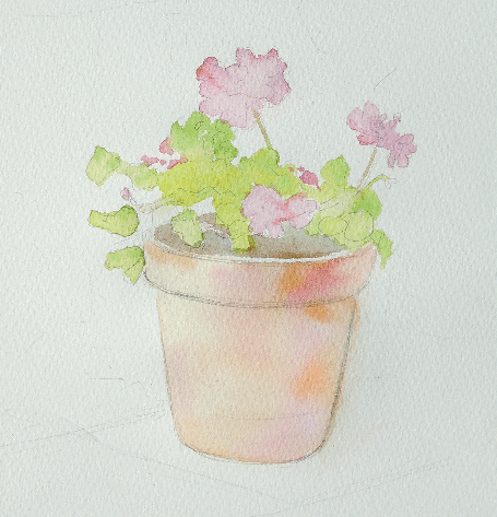 как нарисовать красивый цветок в горшке