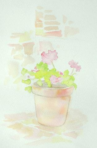 Цветы в акварели, мастер-класс по написанию герани