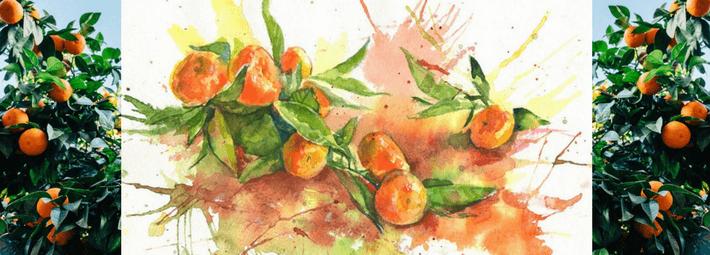 как рисовать мандарины акварелью