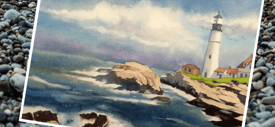 морской пейзаж маяк акварелью