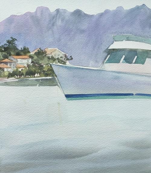 как рисовать яхту акварелью