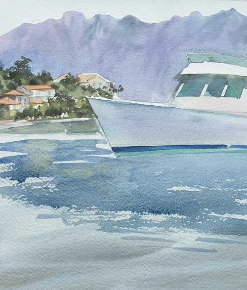 рисование акварелью на пленэре, морской пейзаж