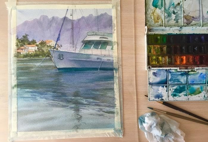как нарисовать лодку с отражением акварелью
