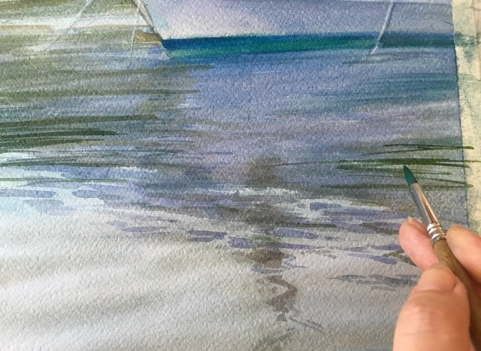 как нарисовать воду акварелью
