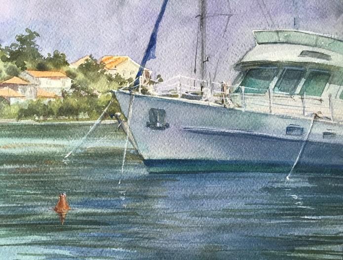 как нарисовать яхту на воде