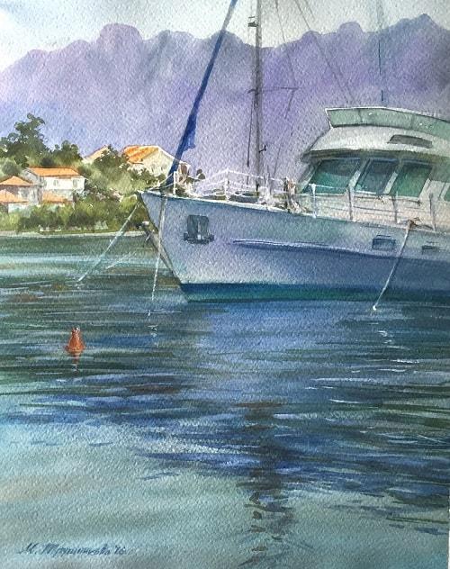 морской пейзаж с лодкой, Марина Трушникова