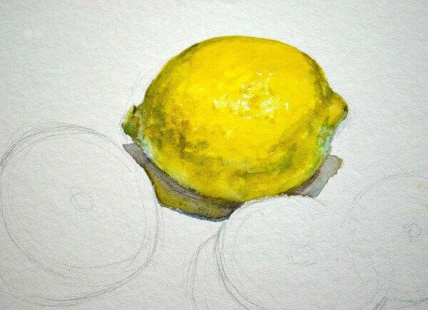 Рисуем лимоны акварелью