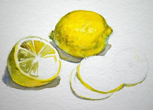 Поэтапный акварельный мастер-класс, лимоны, этюды акварелью фрукты