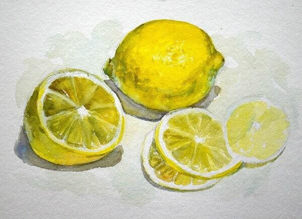 фрукты акварелью, Композиция с лимонами, акварель
