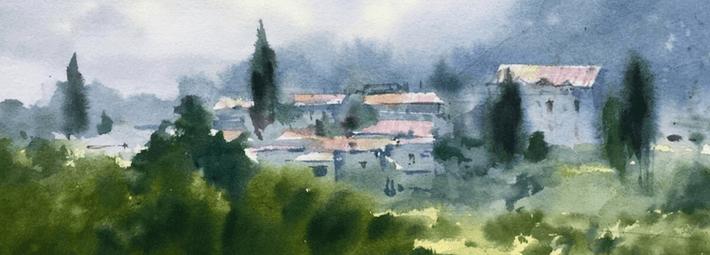 пейзаж акварелью