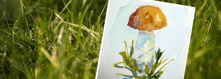 рисование грибов акварелью