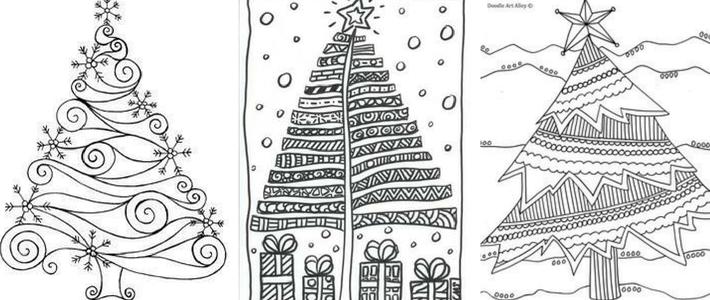 елка в стиле дудлинг