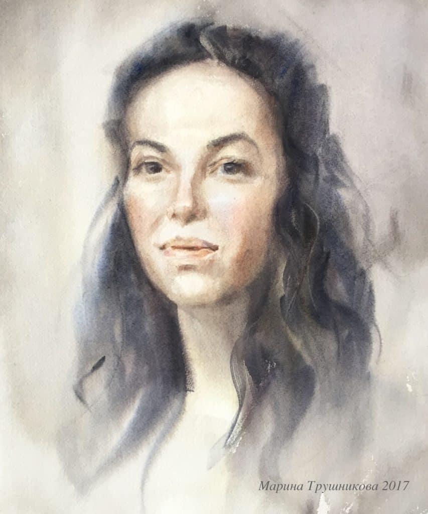 портрет, акварель, М.Трушникова