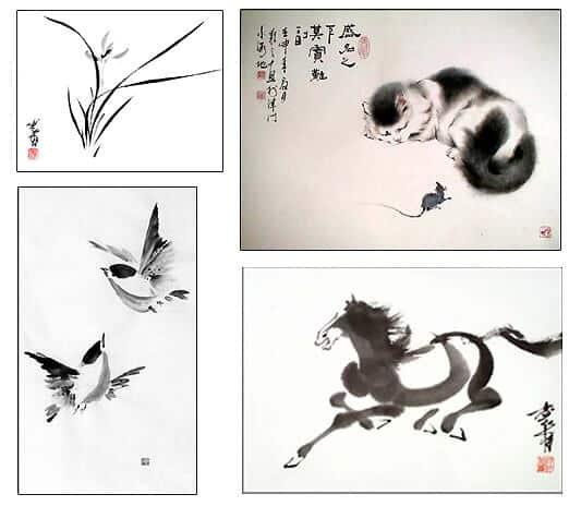 китайская живопись, японская живопись