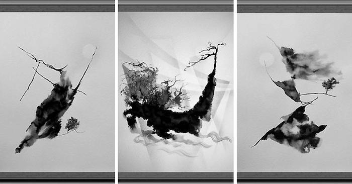Абстракция черно белая картины