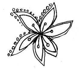 дудлинг, цветок, арт-терапия, графика
