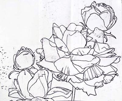 шалон розы, заготовка рисунка розы