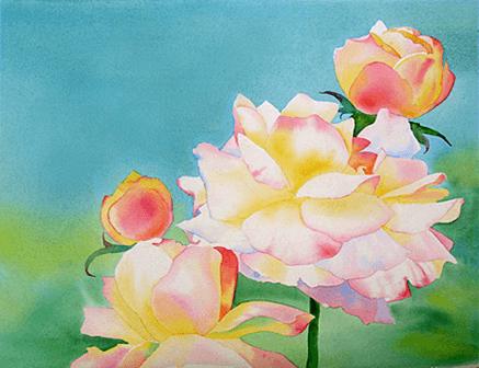 рисоване розы акварелью